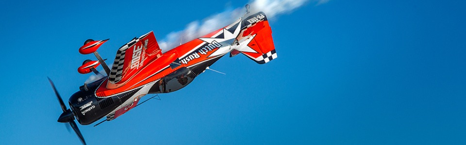 Aerobatic air display at AeroExpo UK