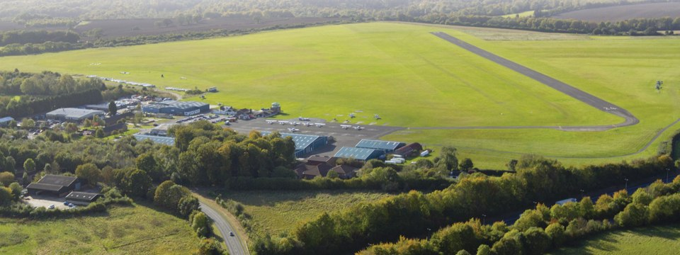 An aerial view of Wycombe Air Park in Buckinghamshire